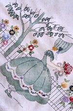 vintage linen tablecloth arts and crafts Southern belles