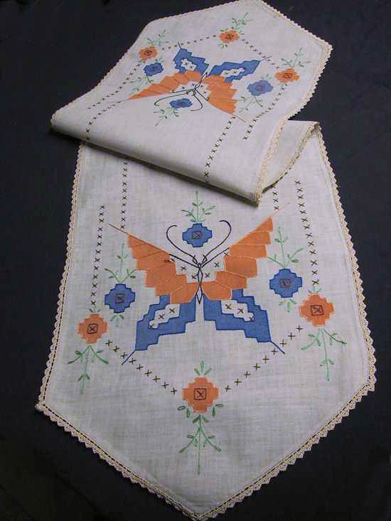 vintage antique arts and crafts table runner dresser scarf butterfly