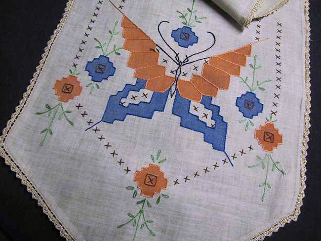 close up vintage antique arts and crafts table runner dresser scarf butterfly
