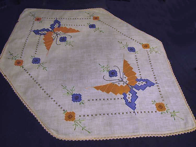 vintage antique table runner dresser scarf arts and crafts butterflies