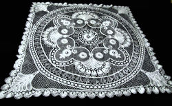 vintage antique white handmade bobbin lace tablecloth