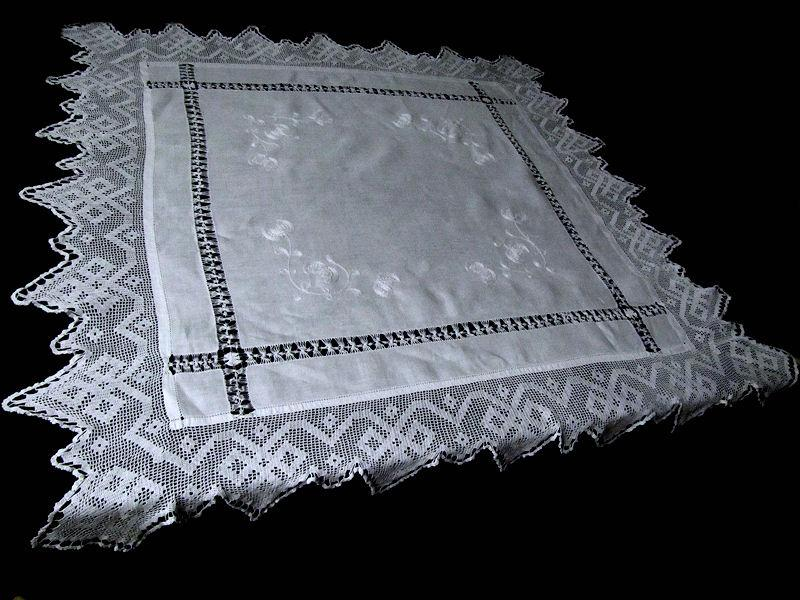 vintage antique white linen tablecloth with handmade lace and embroidery