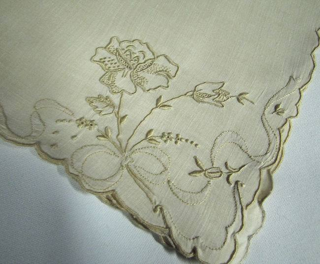 close up vintage linen dinner napkins hand embroidered