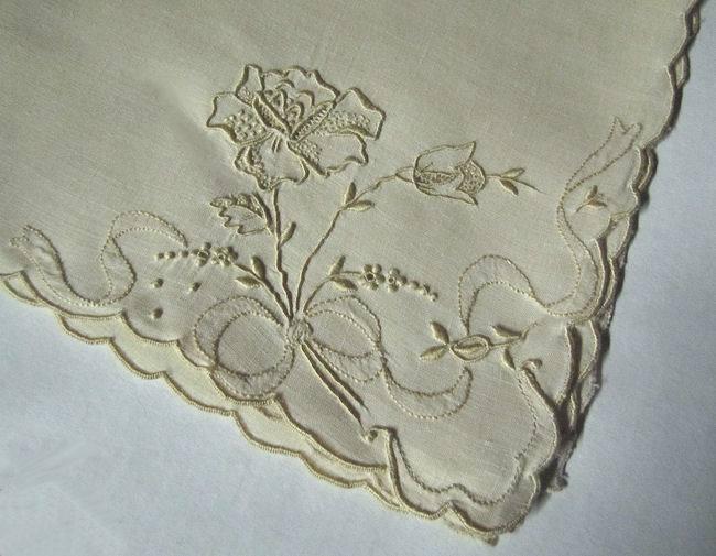 close up 2 vintage linen dinner napkins hand embroidered