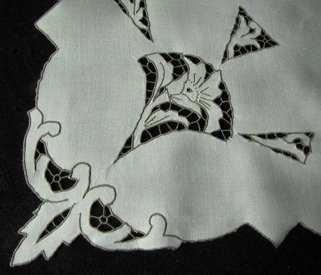 close up vintage antique table topper art deco style handmade lace