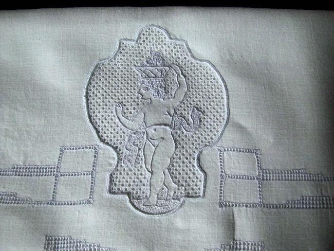 close up vintage handmade figural Appenzell lace lingerie folder