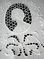 vintage huck linen towel figural lace