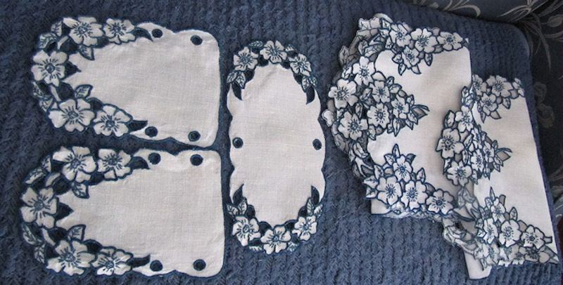 close up 2 vintage antique linen dresser set table runners and doilies handmade lace