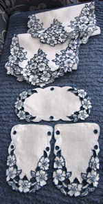 vintage antique  linen handmade dresser set lace table runner dresser scarf and doilies