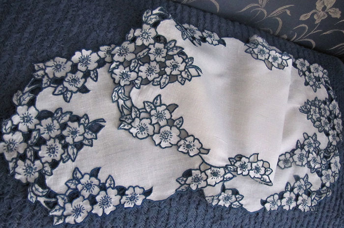 close up 4 vintage antique linen dresser set table runners and doilies handmade lace