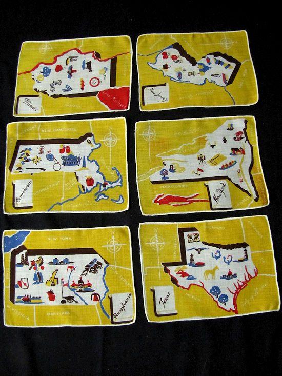 6 vintage state map cocktail napkins