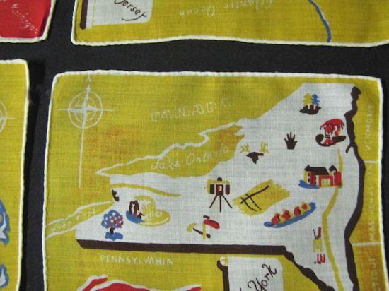 vintage state map cocktail napkins close-up