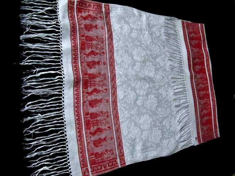 vintage white linen towel red figural damask stripe