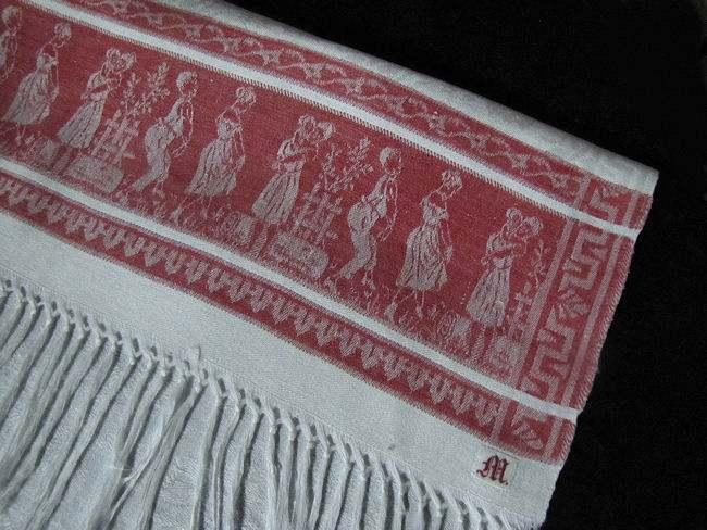 close up 2 vintage white linen towel red figural damask stripe