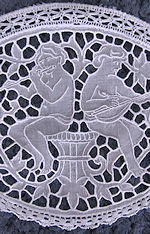 vintage figural lace doily cherubs
