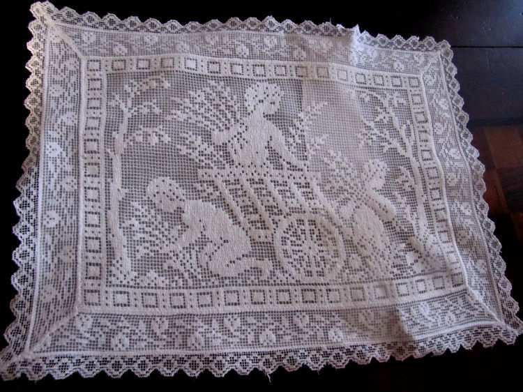 vintage antique Boudoir cover with white figural lace children