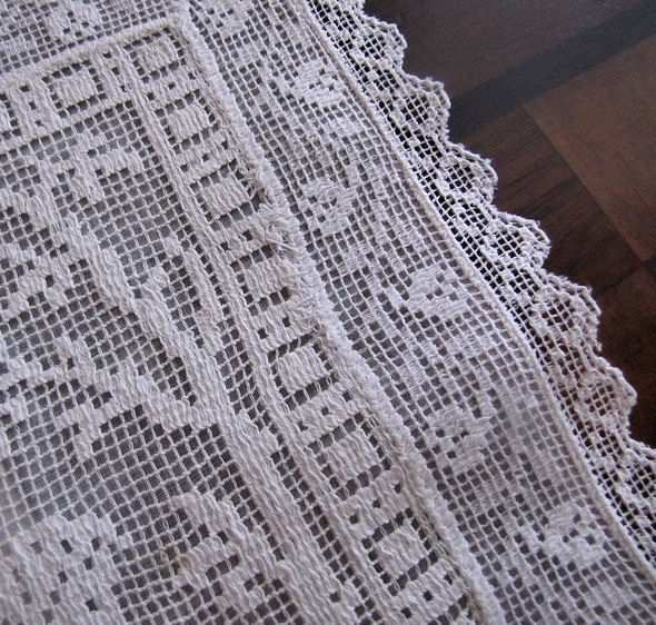 close up 2 vintage antique Boudoir cover with white figural lace children