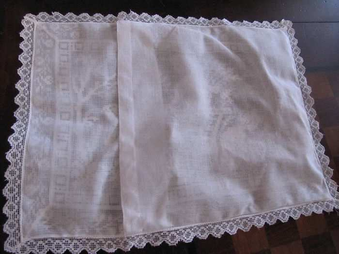close up 3 vintage antique Boudoir cover with white figural lace children