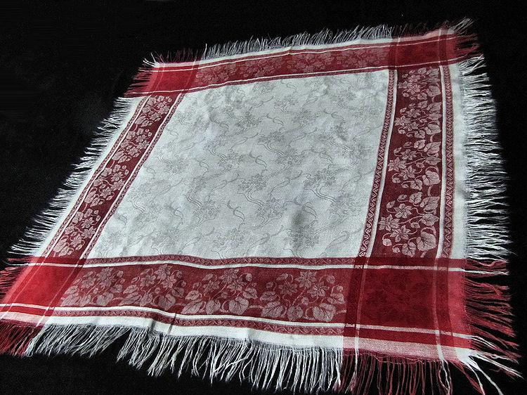 vintage Turkey red and white linen fringed table topper