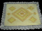 vintage handmade hardanger lace throw or accent pillow cover