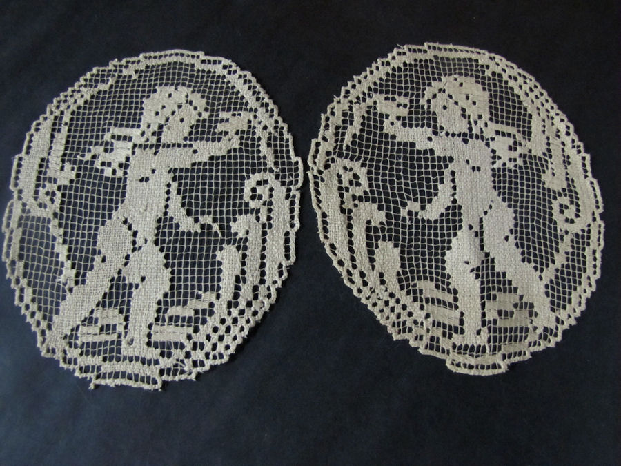 vintage antique pair doilies handmade figural lace