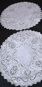 pair vintage white linen doilies figural lace whitework butterflies
