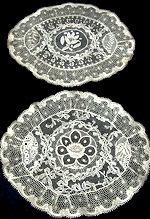 pair vintage normandy lace doilies