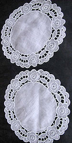 pair vintage antique linen doilies cutwork lace and embroidery