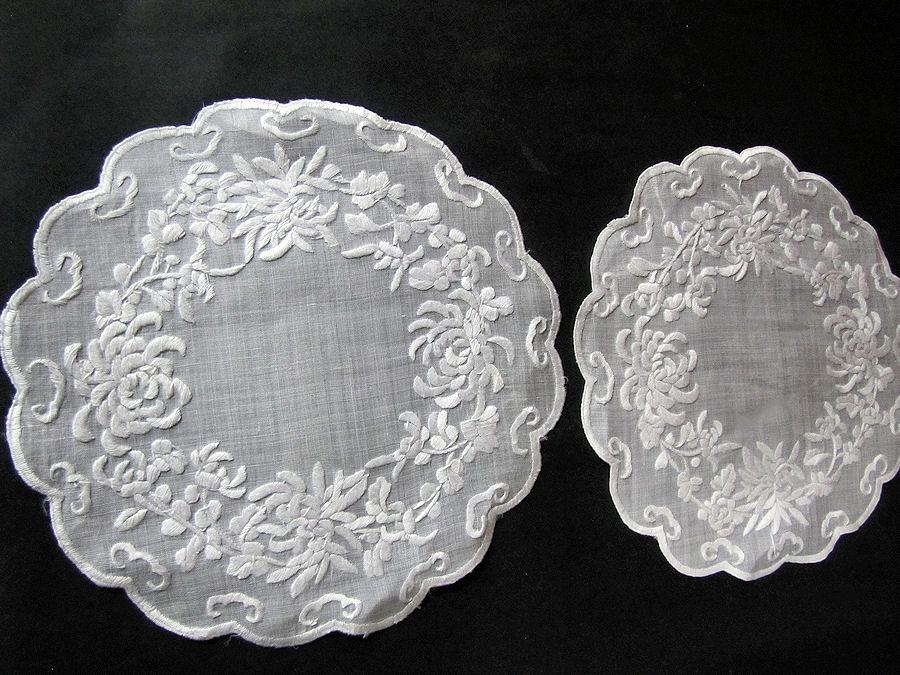vintage antique pair whitework doilies