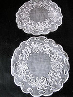 pair vintage antique round white linen doilies hand embroidery