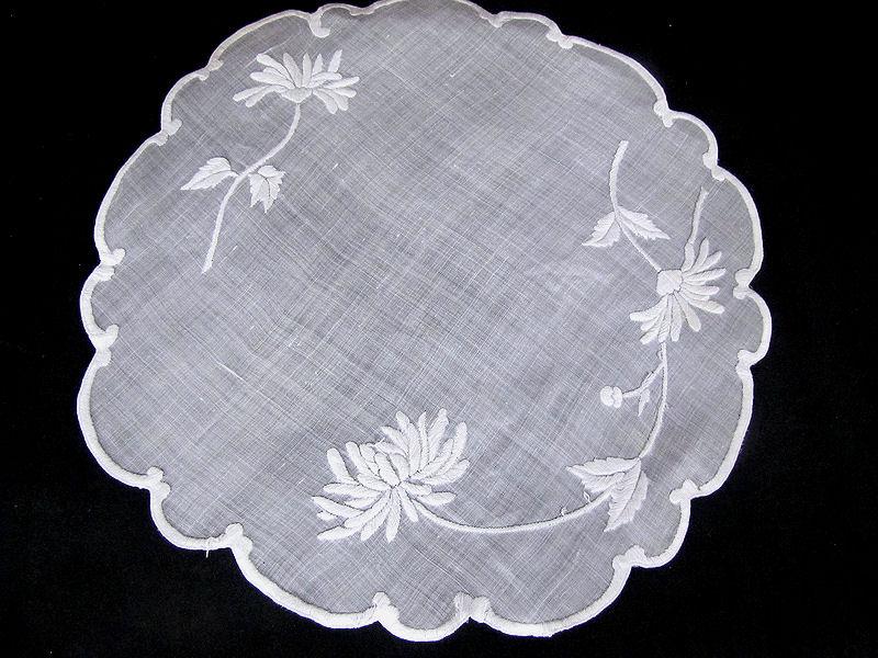vintage handmade whitework doily