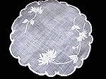 pair vintage white linen handmade doily