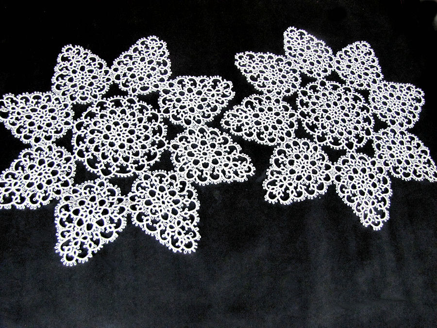 pair vintage handmade lace doilies