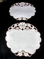 pair vintage doilies handmade lace