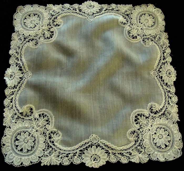 antique wedding hanky handmade Brussels lace