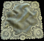 vintage antique wedding hanky handmade Brussels lace