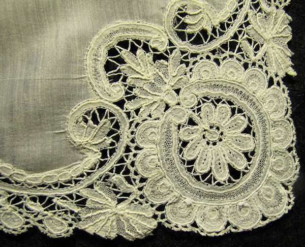 close up antique wedding hanky handmade Brussels lace