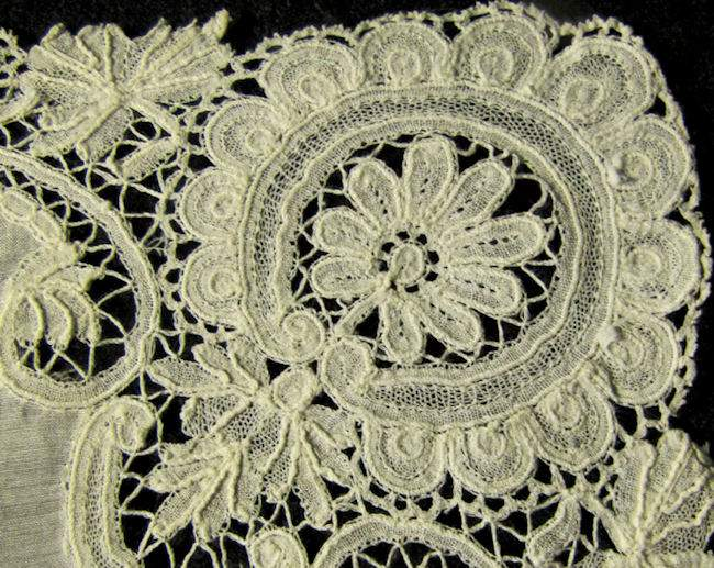 close up 2 antique wedding hanky handmade Brussels lace