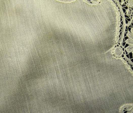 close up 3 antique wedding hanky handmade Brussels lace