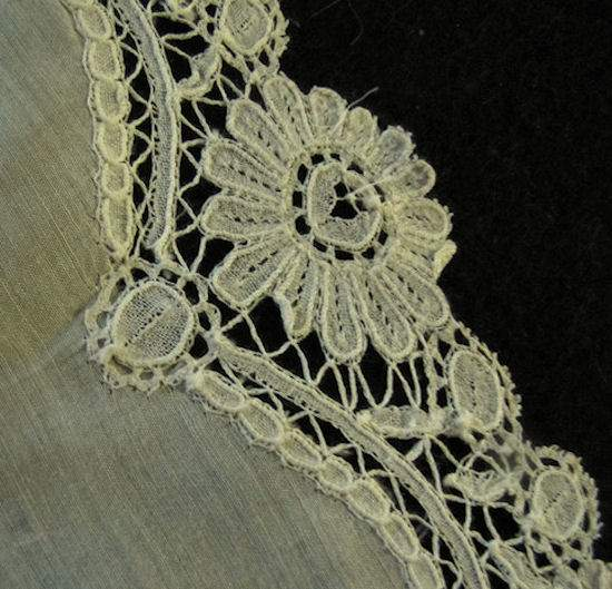 close up 4 antique wedding hanky handmade Brussels lace