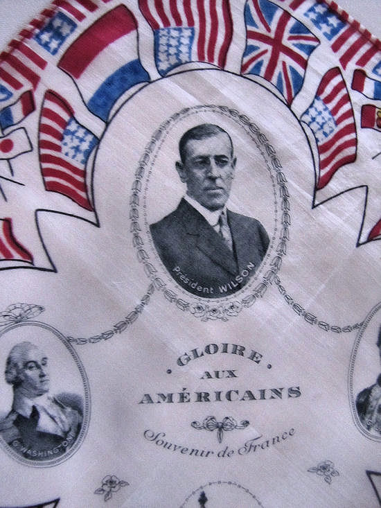 close up vintage antique political designer hanky silk president Wilson and flags