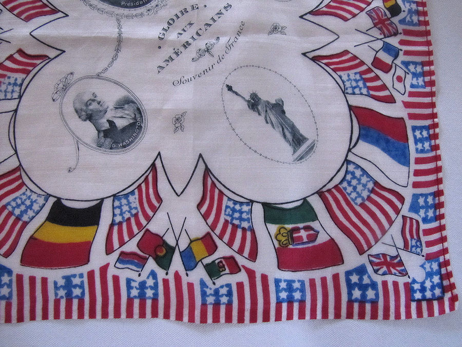 close up 2 vintage antique political designer hanky silk president Wilson and flags
