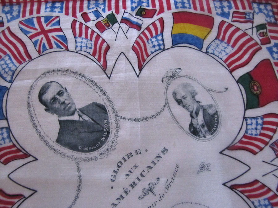 close up 3 vintage antique political designer hanky silk president Wilson and flags