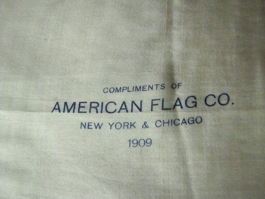 close up antique advertising hanky of the American Flag Co.