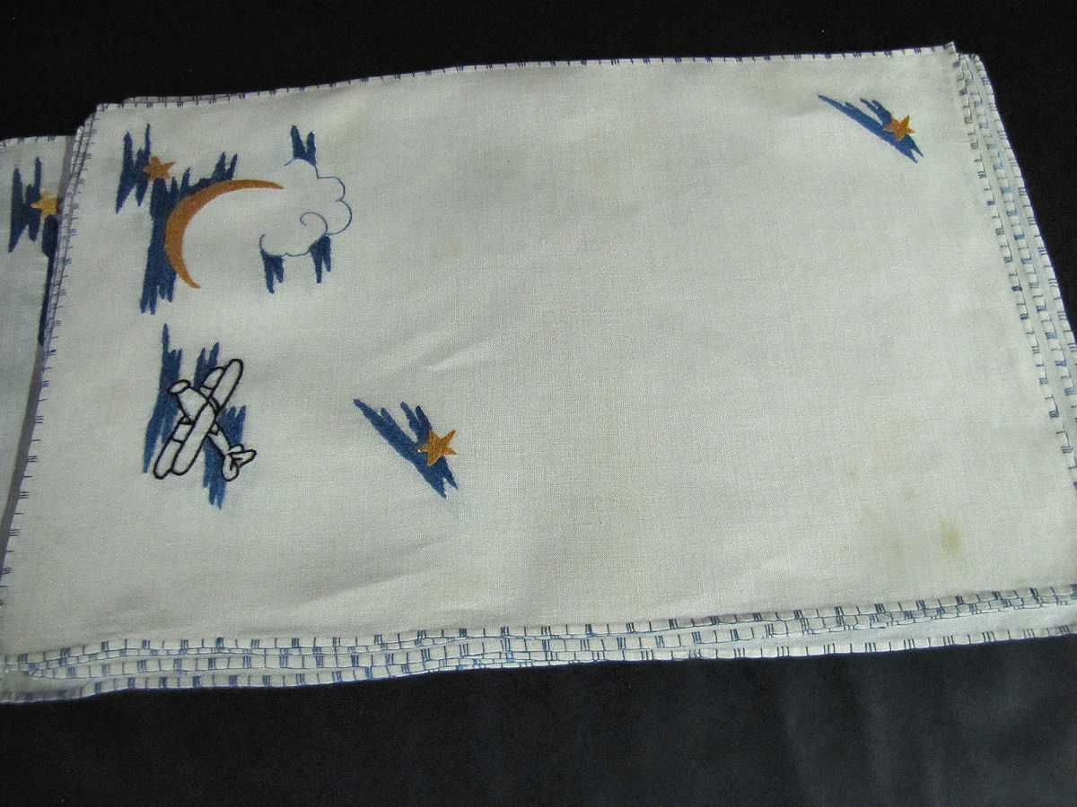 close up 4 vintage antique placemats set hand embroidered biplanes