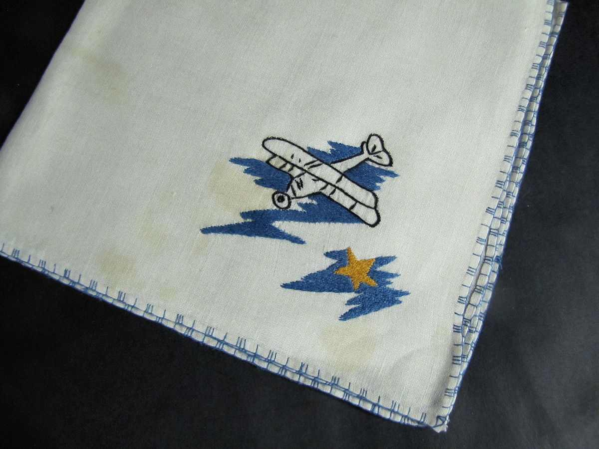 close up 7 vintage antique placemats set hand embroidered biplanes