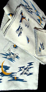 vintage linen and biplane airplanes placemats, runner and  and napkins