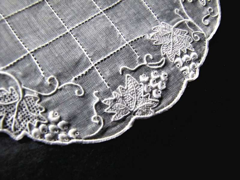 close up 2 vintage antique wedding doilies with handmade lace