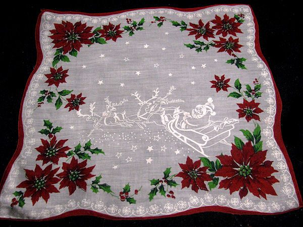 vintage Christmas hanky Santa