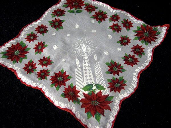 vintage Christmas Candles hanky